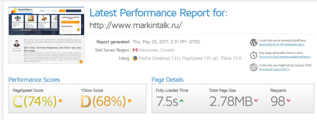 Пример теста скорости моего блога