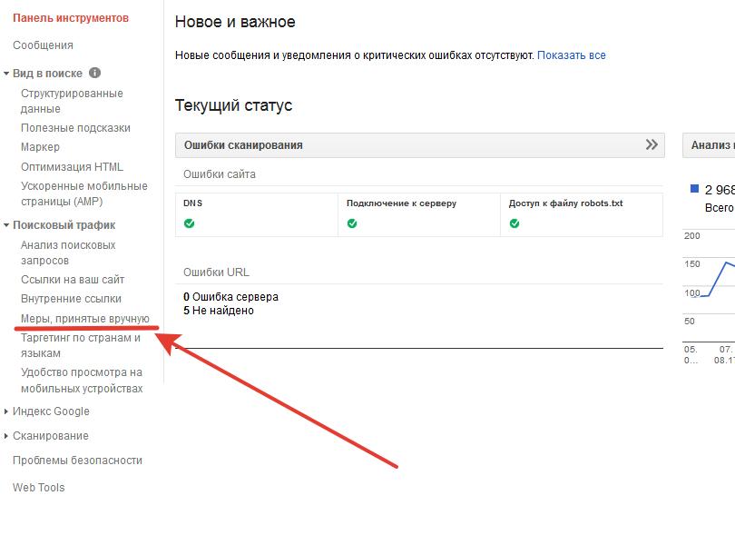 Гугл - меры, принятые вручную