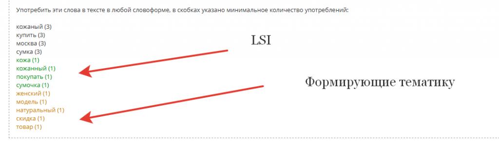 необходимые нам LSI и формирующие тематику слова